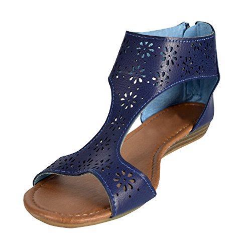 Peach Couture Womens Perforated Flower Summer Wedge Heel Sandal (Navy 8)