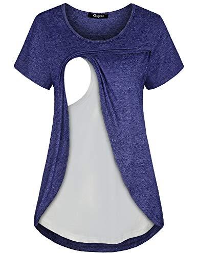 Quinee Nursing Tops Short Sleeve, Women Maternity Round Neck Short Sleeve Breastfeeding Shirts Layering Slim Fit Cotton Blouse Classic Heather Summer Tunic Blue XL