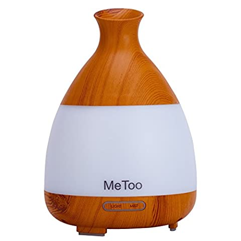 MeToo Aroma Diffuser 120ml Ultrasonic HumiDifier Cool Mist Essential Oil Diffuser with Colorful LED Light for Family, Gym,Spa-Wood (White Ion Speaker)