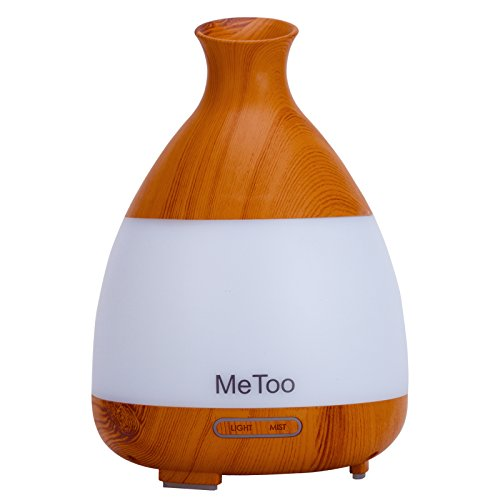 MeToo Aroma Diffuser 120ml Ultrasonic HumiDifier Cool Mist Essential Oil Diffuser with Colorful LED Light for Family, Gym,Spa-Wood Grain