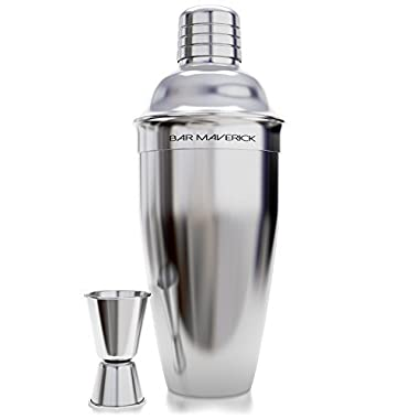 Cocktail Shaker from Bar Maverick / 24 Oz Stainless Steel Martini Shaker Set with Bonus Jigger / Easy to Clean & Dishwasher Safe / Enhance Your Cocktail Creation Process Now!