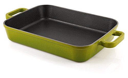 Mabel Home Enameled Cast Iron Roasting Pan, 5.3 Quart Rectangular + with 2 Gloves (Green)