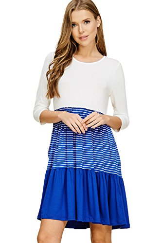 3 Sleeve Pocket Royal ivory Women s Round Casual 4 Annabelle Dresses Neck aIYHq