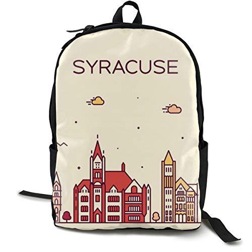 SARA NELL School Backpack Syracuse Skyline New York Usa Linear Bookbag Casual Travel Bag For Teen Boys Girls