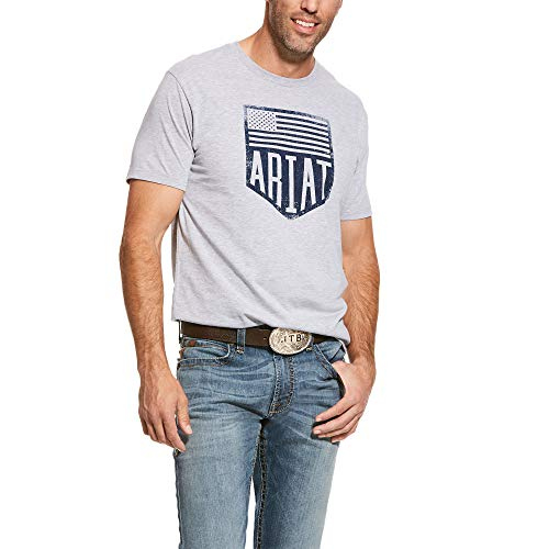 (ARIAT Men's Us Plate Ss T-Shirt Athletic Heather Size XL )
