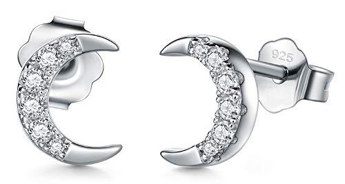 - 925 Sterling Silver Stud Earrings, BoRuo Cubic Zirconia CZ Crescent Moon Earrings
