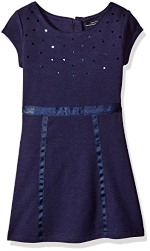 Nautica Little Girls Knit Dress with Sequin Neckline and Grosgrain Trims, Navy, 5