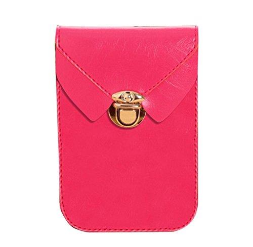Tongshi Las mujeres cero cartera bolso cuero bolso bandolera bandolera Messenger teléfono rosa caliente