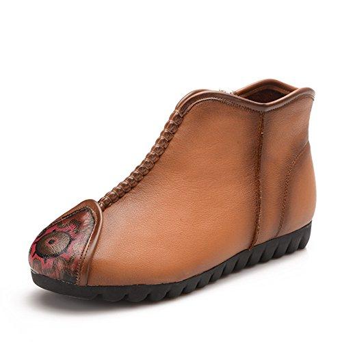 Short boots viento nacional/Mamá suave y botas viejas/ botas plana talón zapatos de primavera B