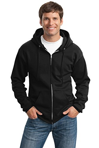 Port & Company Men's Tall Ultimate Full Zip Hooded Sweatshirt LT Jet Black from PORT AND COMPANY