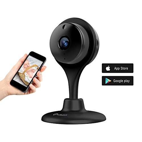 miSafes 1080p HD Mini Smart Wireless Wifi Indoor Home Day Night Security Surveillance Nanny Camera Two-Way Audio Motion Alerts Remote View Cam Easy Bluetooth Connection 304 Black