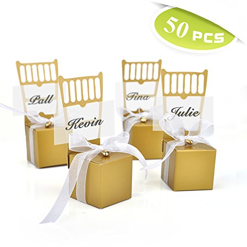 (Price/50 Pcs)Idoo Miniature Gold Chair Favor Box with Heart Charm & Ribbon