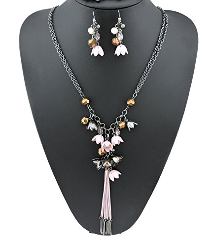 BOCAR Long 2 Layer Chain Unique Flower Pendant Tassels Necklace Earrings Women Jewelry Set Gift(NK-10141-pink)