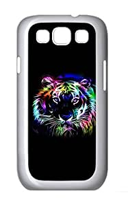 Samsung Galaxy S3 Case and Cover- Neon Tiger Outline Custom PC Case for Samsung Galaxy S3 / SIII / I9300 White