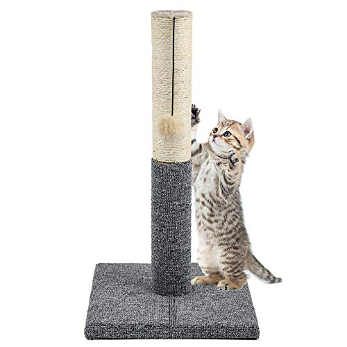 Akarden 20.5'' Tall Cat Scratching Post, Cat Claw Scratcher with Hanging Ball, Durable Cat Furniture with Sisal Rope