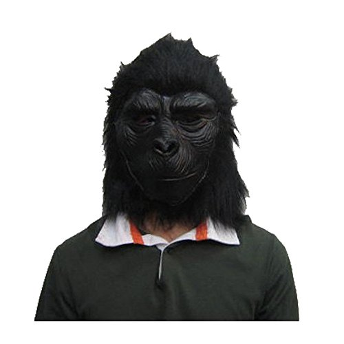 WeiYun Scary Black Orangutan Monster Half Mask Lifelike,Walking Horror Ghost Devil Evil Hair Mask ,Ugly Toothy Mask Cosplay Costume Fancy Party Favors for Halloween,Movie Props Green Latex Blame Mask for $<!--$9.44-->