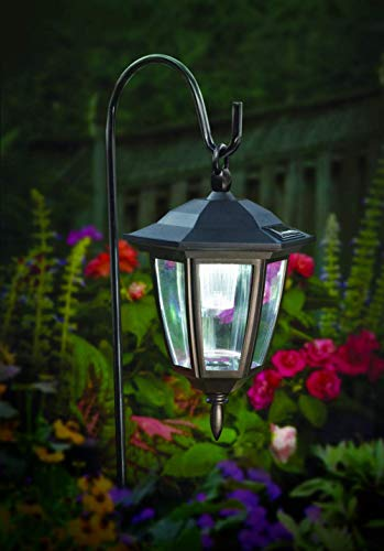 MAGGIFT Hanging Solar Lights Outdoor, Hanging Light with Shepherd Hook and Stake Light in Mixing for Pathway Garden Yard Lawn Holiday Decorations, Set of 2 (Lantern Solar Lights)