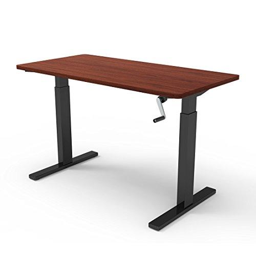 FlexiSpot 48u0027u0027 Crank Standing Desk Sit Stand Desk With Mahogany Top  Adjustable Height Desk