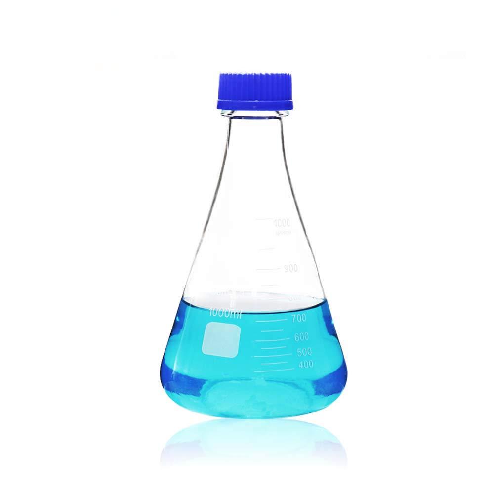 ULAB Scientific Erlenmeyer Flask with Blue Screw Cap, 34oz 1000ml, 3.3 Borosilicate with Printed Graduation, UEF1018