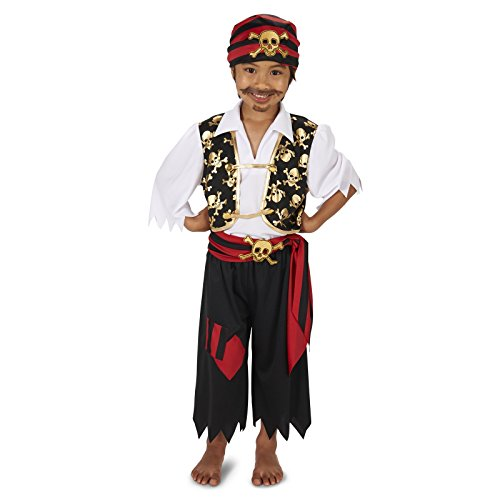 Skull Print Vest with Patched Pants Pirate Child Costume S (4-6)