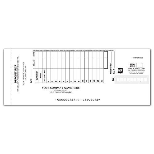 15-Line Booked Deposit Slips - Deposit Ticket Books for Business (2400 qty) - Custom by CheckSimple
