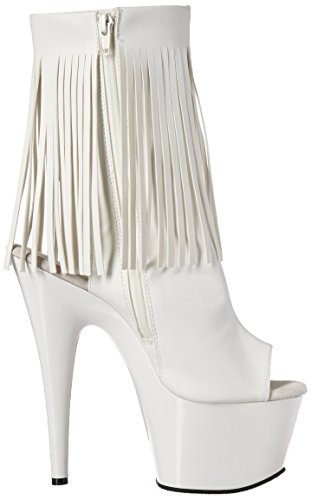 Pleaser Damen Adore 1018 Stiefel Wht Faux Leather/Wht