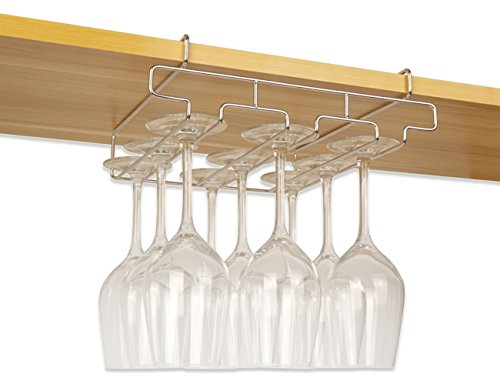 "Bafvt Wine Glass Holder - 3 Rows Stemware Rack Under Cabinet - 304 Stainless Steel Hanger Storage Shelf, Fit for The Cabinet 0.9"" or Less by Bafvt"