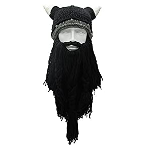 a68741596c9015 Knit Beard Hat Long Bearded Horns Hat Detachable Bearded Face Mask Cap  Outdoor Activities Skiing Skull Beanies