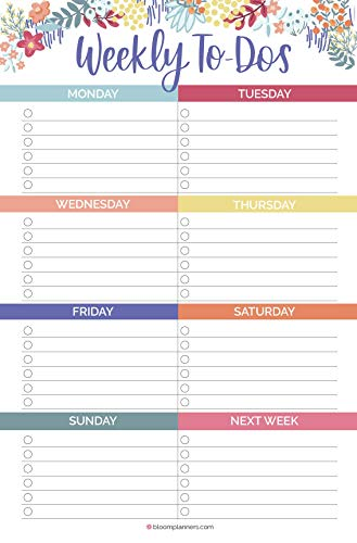 bloom daily planners Undated Weekly to-Do List Pad with Magnet - Tear Off Planning Sheets - 6