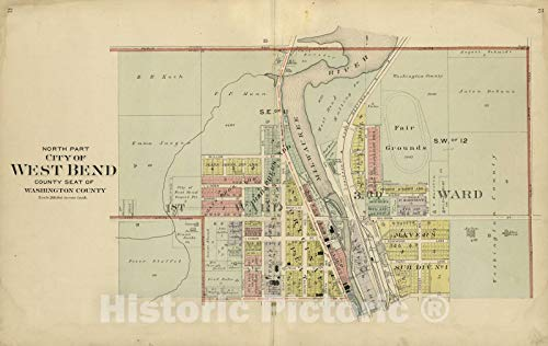 Historic 1915 Map - Plat Book of Washington and Ozaukee Counties, Wisconsin - North Part: City of West Bend County Seat of Washington County 70in x ()