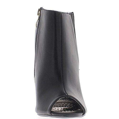 Negro tobillo tacón de 11,5 cm de extremo abierto