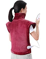 Electric Heating Pad Neck Shoulder and Back Heating Wrap Keep Warm in Cold Days Fast-Heating 5 Temperature Settings Auto Shut Off 24'' x 33''-Crimson