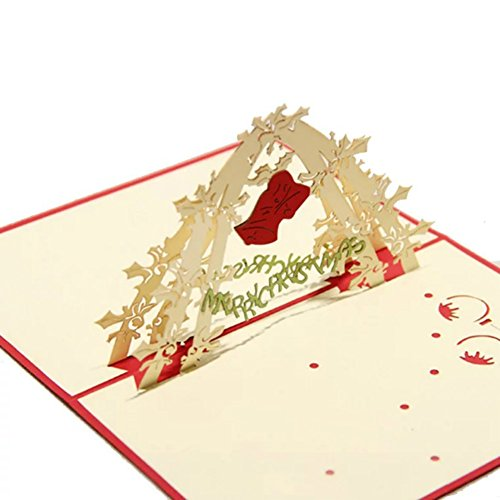 WoodBury 3D Cards Pop Up Greeting Cards Christmas bells Happy New Year Merry (3d Wedding Bell)