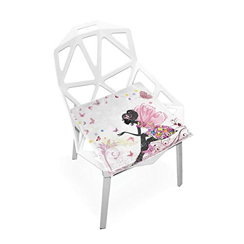 SLHFPX Seat Cushion Flower Fairy Butterflies Chair Cushion Offices Butt Chair Pads Square Wheelchairs Mat for Indoor