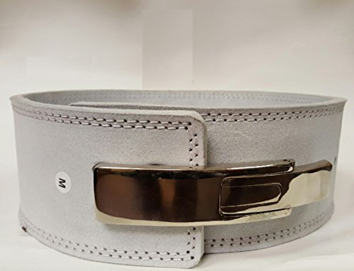 (New Omaha Belts Powerlifting Belt with Lever Buckle - Weightlifting - Crossfit (Medium 29-34 In) (white))