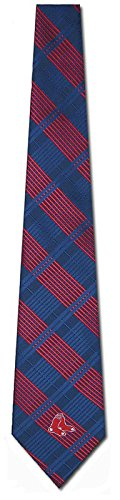 MLB Boston Red Sox Navy Blue Poly Plaid Woven Tie