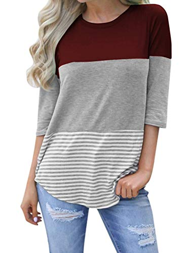 kigod Womens Casual 3/4 Sleeve Color Block T-Shirt Blouses Back Lace Striped Tops Tee Shirts (Wine Red, ()