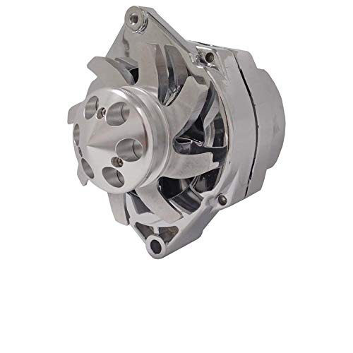 - New High Output 110 AMP Chrome Plated Alternator W/Billet Custom 1 Groove Pulley Self Exciting (Low Cut In)