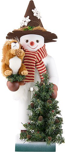 German Christmas Nutcracker Snowman with Squirrel limited edition - 48,5cm / 19 inch - Christian Ulbricht by Christian Ulbricht