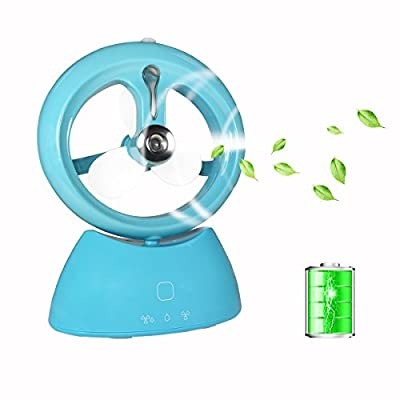 OTOFY Misting Fan, Mini USB Water Spray Desk Fan Humidifier Mist Rechargeable Portable Personal Cooling Mist Humidifier Fan Air Conditioning