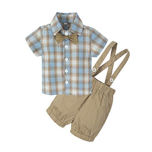 - BIG ELEPHANT Baby Boys' 2 Piece T-Shirt Suspender Shorts Clothing Set Blue