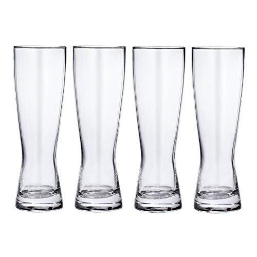 20 OZ Crystal Pilsner Beer Glasses set of 4 - Lead-Free - Gift Box Packaged ()