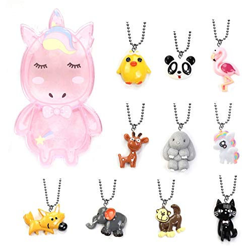 Collection Rabbit - Zoo Collection - Monkey, Rabbit, Giraffe, Chick, Flamingo, Panda, Fox, Cat, Elephant, Unicorn Cute Animals Pendant Necklace Set for Kids Party, Gift Box
