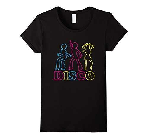 70s Outfits Women (Womens Retro Disco Dancing T Shirt Gift for 70s Disco Dancer Small Black)