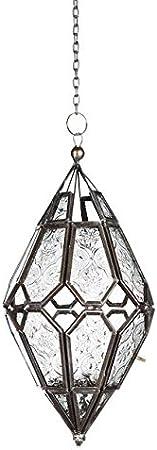 Home /& Garden et Tailles Petite Taille Style marocain /à Suspendre Indien//marocain Fer et Verre Lanterne Photophore 11/x 11/x 24/cm