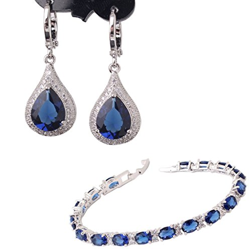 GULICX White Gold Electroplated Silver Tone Sapphire Color Blue CZ Jewelry Set Dangle Earrings Bracelet