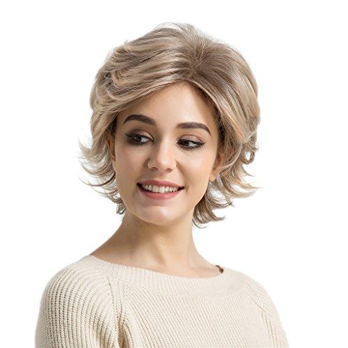 Kesoto ショート カーリー ウィッグ ヘアネット 女性 合成髪 短い かつら 耐熱 コスプレ ミックスブロンド
