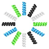 Cable Protector, BOENFU 12 Pcs Cable Saver Flexible Silicone Spiral USB Cord Protector Compatible for All Phones/Headphone/Computer Cables, etc.(4 Colors)