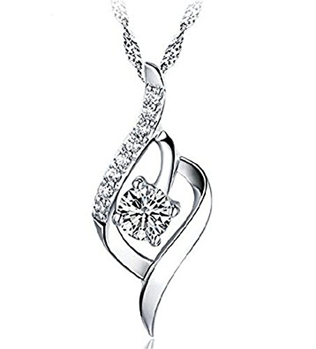 SJS Collection Sterling Silver Fashion Heart Necklace. Rhodium Plated w/ 9 AAA Cubic Zirconia Diamonds. 18