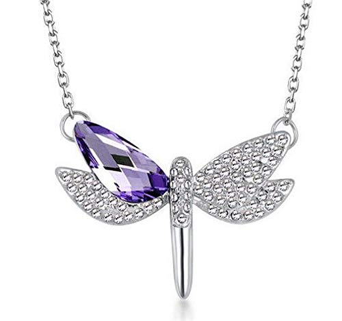 (New Womens Dragonfly Purple Crystal Rhinestone Silver Chain Pendant Necklace -)